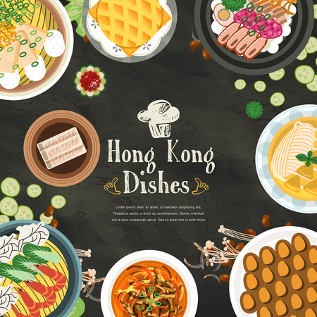 hong kong street: top view of delicious Hong Kong dishes in flat style