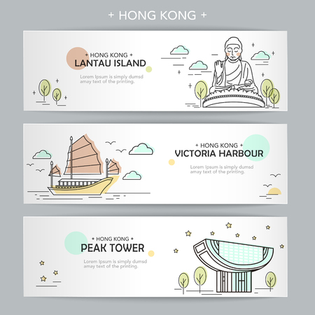 attractive Hong Kong travel banner design in thin line style