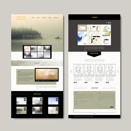 interface: elegant one page web design with blurred scenery Illustration