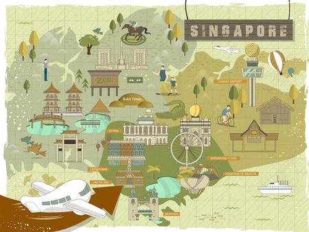 素敵なシンガポール必見の見所、フラットなデザインでマップを移動  イラスト・ベクター素材