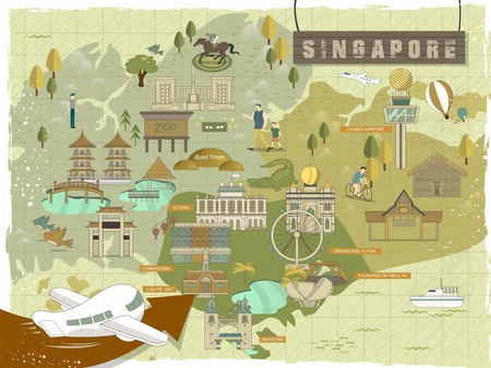 marina life: lovely Singapore must see attractions travel map in flat design