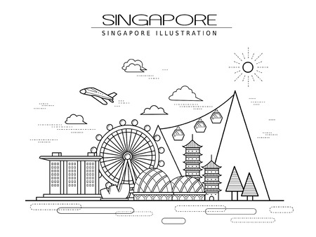 선 스타일의 단순 싱가포르 풍경 포스터 디자인 일러스트