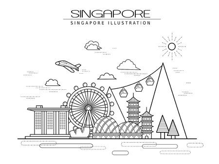 eenvoud Singapore landschap poster ontwerp in lijn stijl Stock Illustratie