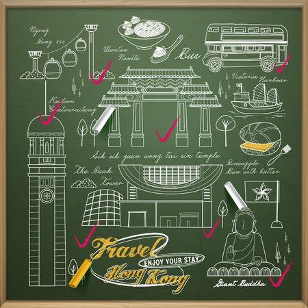 hong kong: creative Hong Kong travel elements collection on the chalkboard