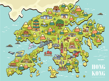 HONG KONG: lovely hand drawn Hong Kong travel map Illustration
