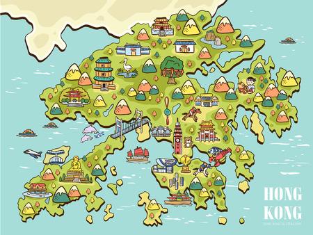 barco caricatura: mapa de Hong Kong dibujada mano preciosa