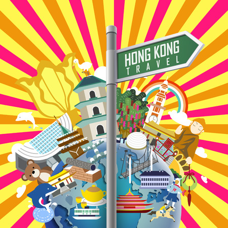 colorful Hong Kong travel poster with a signpost