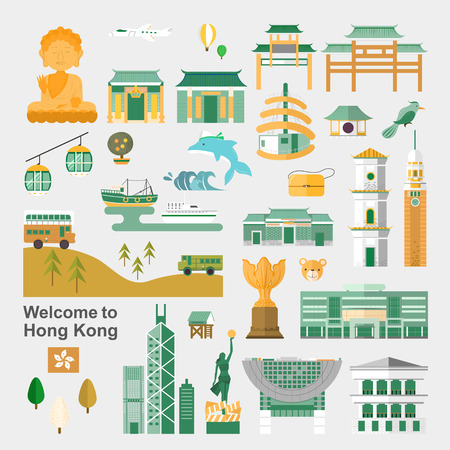 attractive Hong Kong travel concept collection in flat design