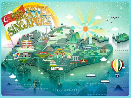 attractions: attractive Singapore travel map with colorful attractions icon Illustration
