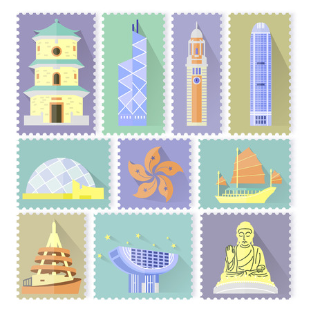 attractions: creative Hong Kong travel attractions stamp design