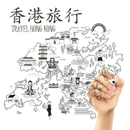 hong kong: Hong Kong travel map drawn by a hand - the upper left title is Hong Kong travel in Chinese word