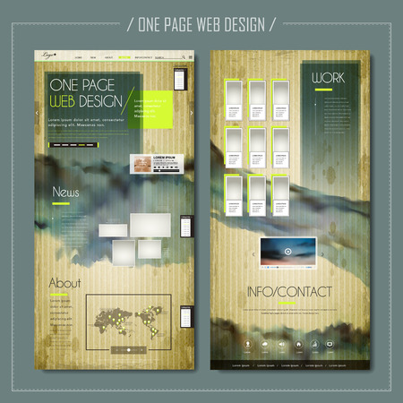 website layout: modern one page web design with abstract ink elements Illustration