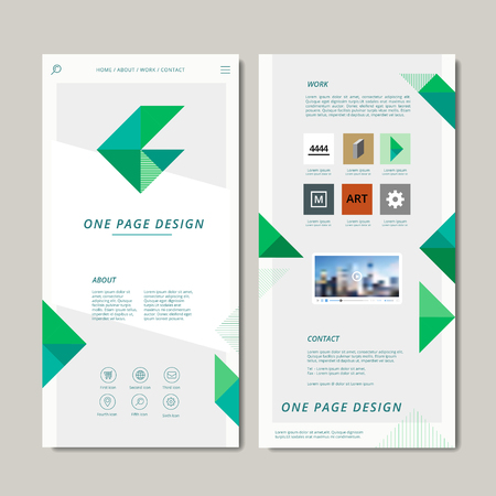 web design elements: modern one page web design with geometric elements