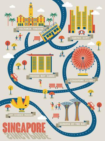 フラットデザインで素敵なアトラクションを持つシンガポールの旅行マップ