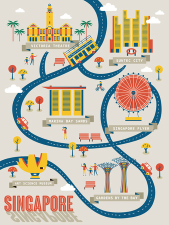 singapore city: Singapore travel map with lovely attractions in flat design