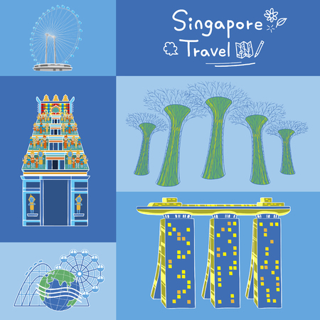 Singapore must see attractions collection in flat design