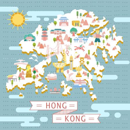 city scene: lovely Hong Kong map design in flat style Illustration