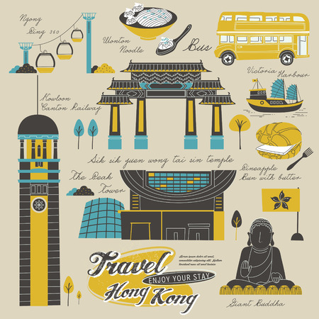 clock tower: attractive Hong Kong travel elements collection in flat style