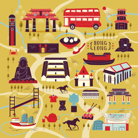 attractions: adorable Hong Kong travel concept with attractions and dishes in flat design