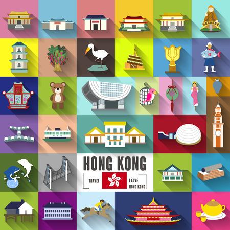 hong kong: Hong Kong travel elements collection with long shadows in flat design