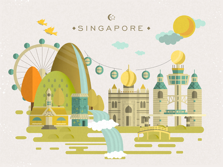 lovely Singapore travel concept design in flat style Vectores
