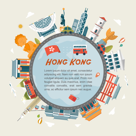 lovely Hong Kong travel concept design in flat design  イラスト・ベクター素材