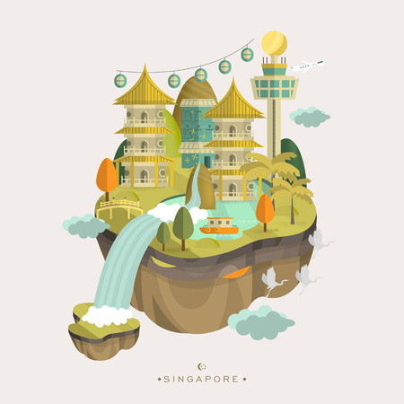 tourists: lovely Singapore travel concept design in flat style Illustration