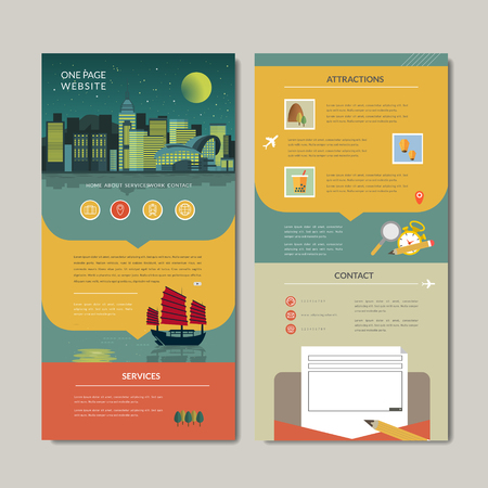hong kong night: adorable one page web design with night scene in flat style