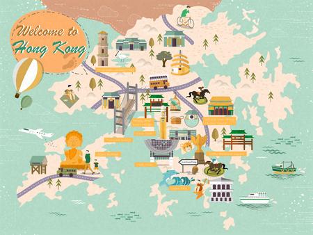 lovely Hong Kong map design in flat design 向量圖像