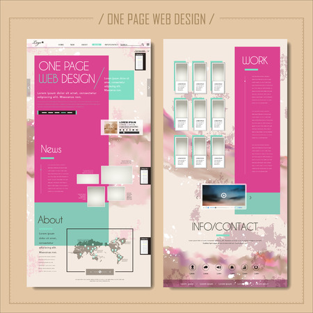trendy one page web design in pink and blue