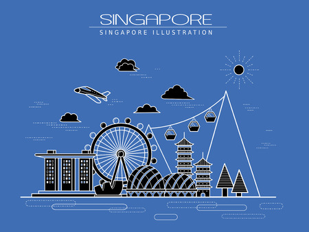 the simplicity: simplicity Singapore scenery poster design in line style