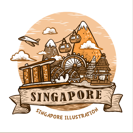 lovely Singapore scenery poster design in hand drawn style 向量圖像
