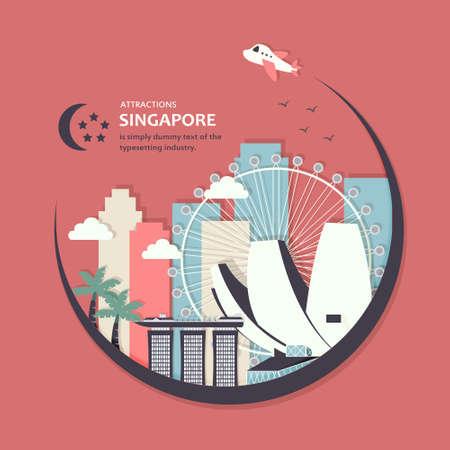 singapore: fantastic Singapore travel concept design in flat style Illustration