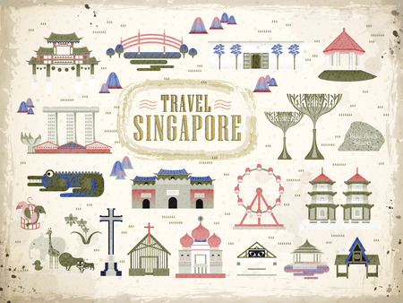best guide: Singapore must see attractions collection in flat style