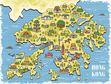 lovely hand drawn Hong Kong travel map Illustration