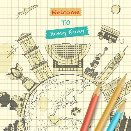 hong kong: creative Hong Kong travel design in sketch style