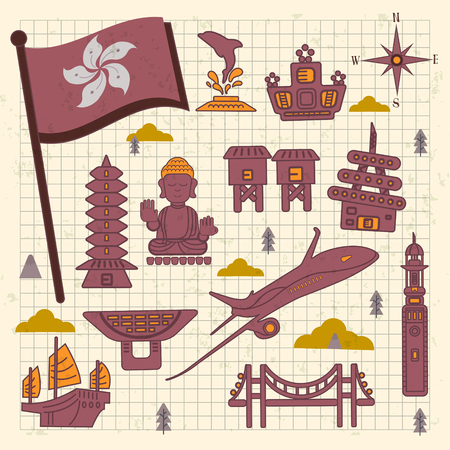 clock tower: lovely Hong Kong travel concept collections in flat style Illustration
