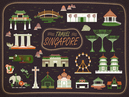 attractions: Singapore must see attractions collection in flat style