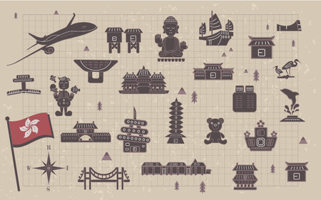 notepaper: lovely Hong Kong travel collections on notepaper Illustration