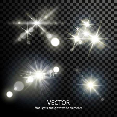 attractive light sparkles collection on transparent background Illustration