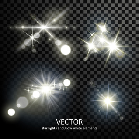 attractive light sparkles collection on transparent background Vettoriali