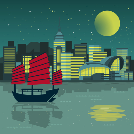 hong kong night: fantastic Victoria Harbor night scenery in flat design