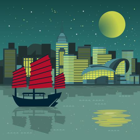 fantastic: fantastic Victoria Harbor night scenery in flat design