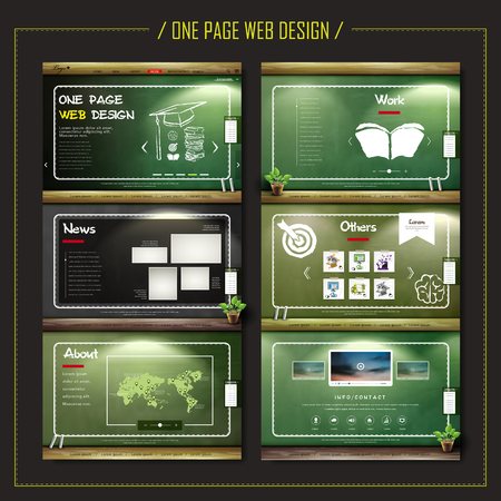 school kit: one page web design with chalkboard elements