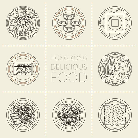 hong kong street: top view of delicious Hong Kong dishes in thin line style