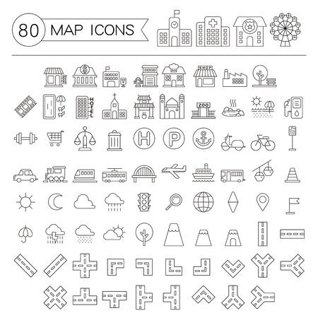 80 マップ アイコン コレクション薄い線のスタイルの設定します。