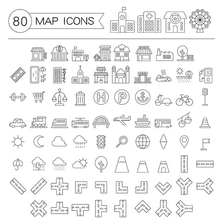 navigation icons: eighty map icons collections set in thin line style