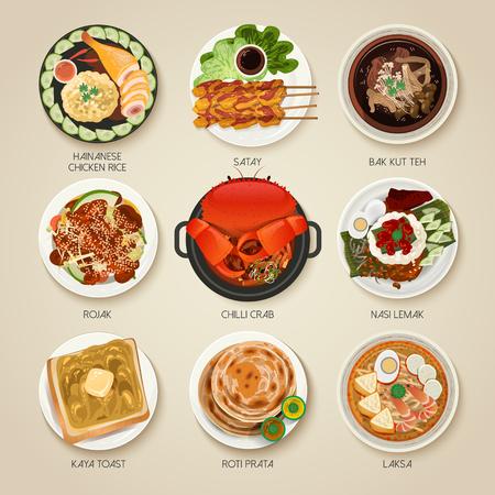 attraktiv: Draufsicht von Singapur traditionellen Köstlichkeiten Sammlung Illustration