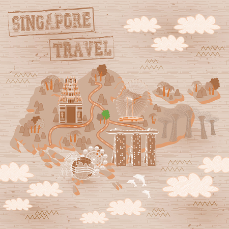 wave tourist: lovely Singapore must see attractions travel map in hand drawn style Illustration
