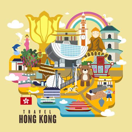 attraktiv: Hong Kong-Reise-Plakat-Design mit Sehenswürdigkeiten in flachen Stil Illustration